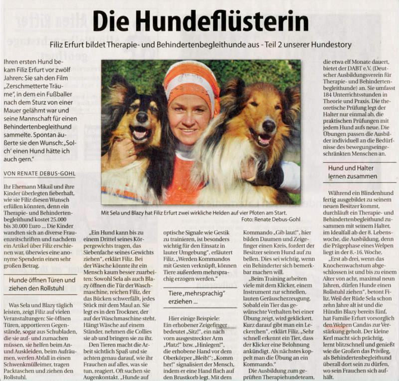 Zeitungsartikel Die Hundeflüsterin