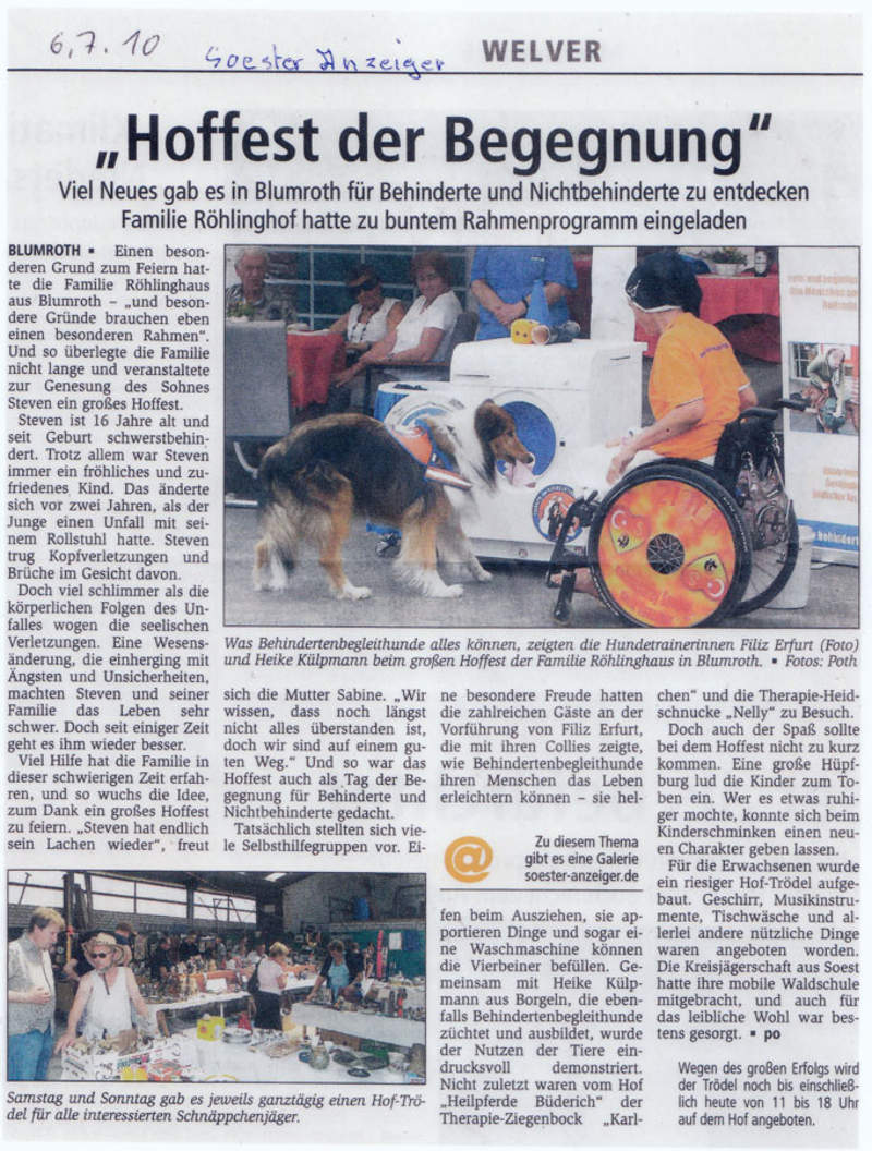 Soester Anzeiger Hoffest der Begegnung - Filiz stellt die Arbeit ihrer Hunde vor
